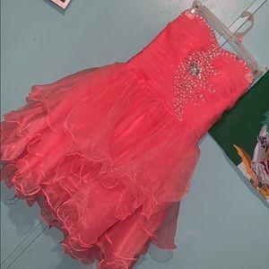 Mini Coral Strapless Prom Dress with Diamonds